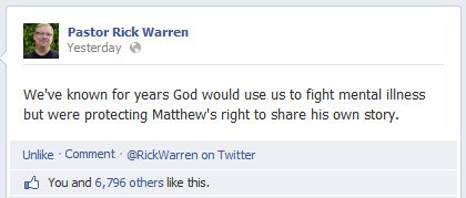Pastor Rick Warren FB comment
